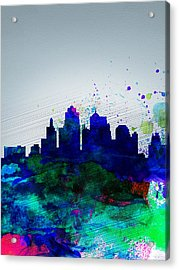 Kansas City Watercolor Skyline Acrylic Print by Naxart Studio