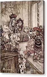 Knave Before The King And Queen Of Hearts Illustration To Alice S Adventures In Wonderland Acrylic Print by Arthur Rackham