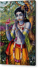 Krishna With Flute  Acrylic Print by Vrindavan Das