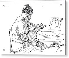 Lady On Smartphone  Acrylic Print by Ylli Haruni