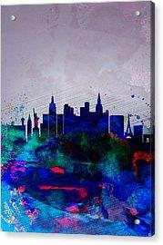 Las Vegas Watercolor Skyline Acrylic Print by Naxart Studio