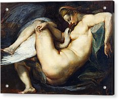 Leda And The Swan Acrylic Print by Peter Paul Rubens