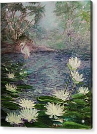 Acrylic Print featuring the painting   Lilies  Of  The  Pond by Beth Arroyo