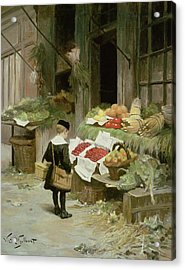 Little Boy At The Market Acrylic Print by Victor Gabriel Gilbert