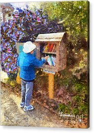 Acrylic Print featuring the painting  Alameda  Little Free Library by Linda Weinstock