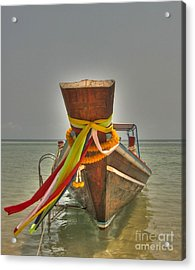 Acrylic Print featuring the photograph  Long Tail Boat by Michelle Meenawong