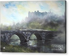 Acrylic Print featuring the painting  Ludlow Castle In A Mist by Jean Walker