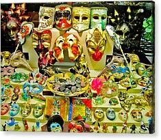 Masks. Next To Charles Bridge. Prague. Czech Republic. Acrylic Print by Andy Za