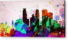 Minneapolis City Skyline Acrylic Print by Naxart Studio