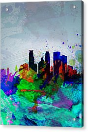 Minneapolis Watercolor Skyline Acrylic Print by Naxart Studio