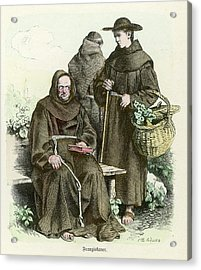 Monks Of The Order Of  Saint Francis Acrylic Print by Mary Evans Picture Library