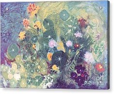 Nasturtiums And Marigolds Acrylic Print by Trudy Brodkin Storace