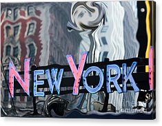 New York Neon Sign Acrylic Print by Sophie Vigneault