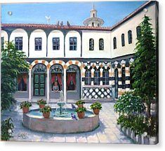 Acrylic Print featuring the painting  Old House In Damascus # 2 by Laila Awad Jamaleldin