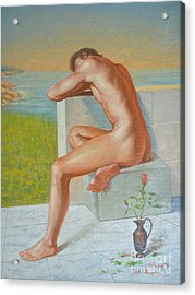 Original Classic Oil Painting Man Body Art  Male Nude And Vase #16-2-4-09 Acrylic Print