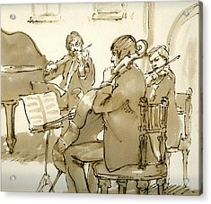 Original Pen And Ink Drawing Three Musicians In Concert Acrylic Print