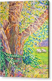 Painting Of Owl In Tree II Acrylic Print by Annie Gibbons