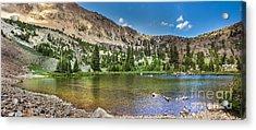 Panoramic View Of An Alpine Lake Acrylic Print by Robert Bales