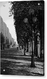 Paris - Peaceful Afternoon Bw Acrylic Print by Jacqueline M Lewis