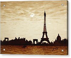 Paris Under Moonlight Silhouette France Acrylic Print