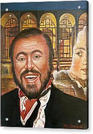 Pavarotti And The Ghost Of Lincoln Center Acrylic Print by Melinda Saminski