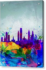 Philadelphia Watercolor Skyline Acrylic Print by Naxart Studio