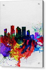 Phoenix Watercolor Skyline 2 Acrylic Print by Naxart Studio
