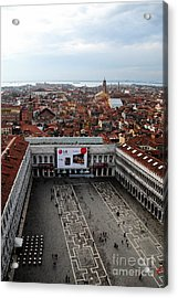 Piazza San Marco Aerial Acrylic Print by Jacqueline M Lewis