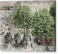 Place Du Theatre Francais Acrylic Print by Camille Pissarro