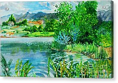 Plin Air Water Color Acrylic Print by Annie Gibbons