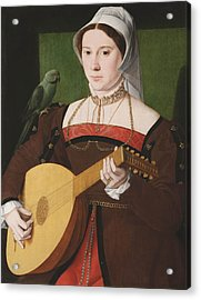 Portrait Of A Woman Playing A Lute Acrylic Print by Celestial Images