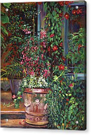 Pot Of Fuschia Flowers Acrylic Print by David Lloyd Glover