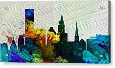 Providence City Skyline Acrylic Print by Naxart Studio