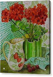 Red Geranium With The Strawberry Jug And Cherries Acrylic Print by Joan Thewsey