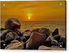 Red Sea Sunset Acrylic Print by George Paris