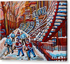 Red Staircases -paintings Of Verdun Montreal City Scene - Hockey Art - Winter Scenes  Acrylic Print by Carole Spandau