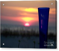 Reflections On Blue Acrylic Print by Sandra Starling