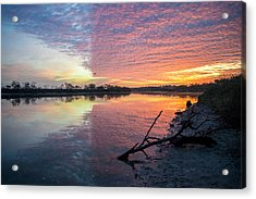 River Glows At Sunrise Acrylic Print by Leticia Latocki