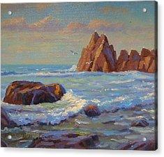 Rocks West Coast Acrylic Print by Terry Perham