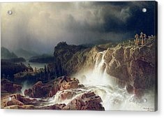 Rocky Landscape With Waterfall In Smaland Acrylic Print by Marcus Larson