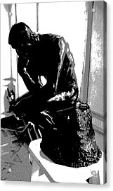 Rodin  -  The Thinker Acrylic Print by Jacqueline M Lewis