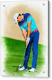 Rory Mcilroy Plays His Second Shot On The Par 4 Acrylic Print