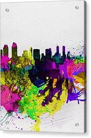 San Diego Watercolor Skyline Acrylic Print by Naxart Studio