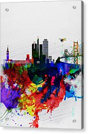 San Francisco Watercolor Skyline 1 Acrylic Print by Naxart Studio