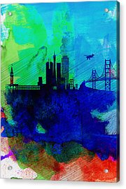 San Francisco Watercolor Skyline 2 Acrylic Print by Naxart Studio
