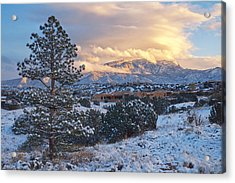 Sandia Mountains With Snow At Sunset Acrylic Print