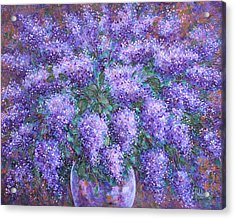 Acrylic Print featuring the painting  Scented Lilacs Bouquet by Natalie Holland