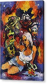 Sexy Pinup Zombie Painting Acrylic Print by Teara Na