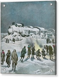 Snow Halts The Train On The Acrylic Print by Mary Evans Picture Library