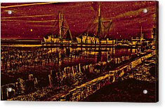 Stary Night Time At The Docks Acrylic Print